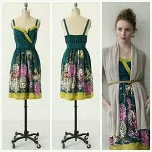 Anthropologie Silk Floral Dress by Maeve